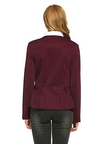 Outwear Cerniera Manica Puro Autunno Classiche Lunga Donna Stile Tasche Colore Blazer Giacca Rot Collo Anteriori Calda Ragazzi Con Rotondo Coat Da Tailleur Modern S7qEanxEO