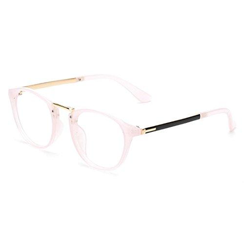 45e01025f9 D.King Vintage Inspired Round Horned Rim Clear Lens Glasses for Men Women  Pink