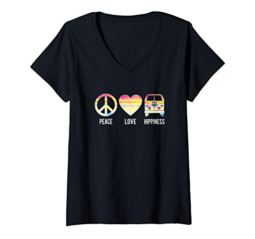 Womens Peace Love and Hippiness | 70's Retro Hippie Bus V-Neck T-Shirt]()