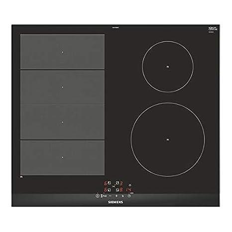 Siemens iQ700 EX675BEB1E hobs Negro Integrado Con - Placa (Negro, Integrado, Con placa de inducción, Vidrio y cerámica, 1400 W, Alrededor)