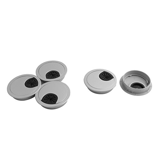 uxcell Plastic Computer Desk Round Grommet Wire Cable Hole Cover Cap 60mm Dia 5pcs Silver Tone - Silver Tone Cable
