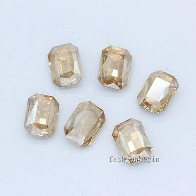 FidgetGear 12p 27x18MM Color Point Foiled Back Crystal Rhinestone Glass Octagon Jewel Stone Gold Champagne