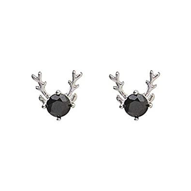 Hugdong Cute 925 Silver Rhinestone Sika Deer Antler Stud Earrings with Jewelry Box,Deer Earrings for Women
