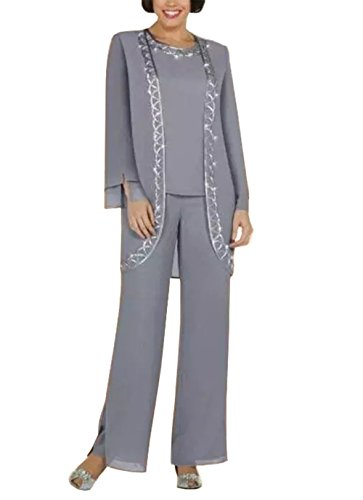Fitty Lell Women's Chiffon Jewel Long Mother The Bride Pant Suits Long Sleeve Jacket(US12,Grey) ()