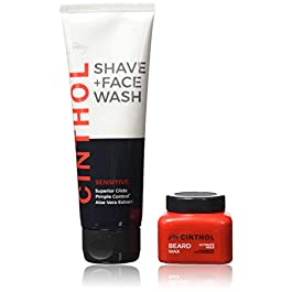 Cinthol Sensitive Shave + Face Wash, 100ml with Beard Wax, 50g