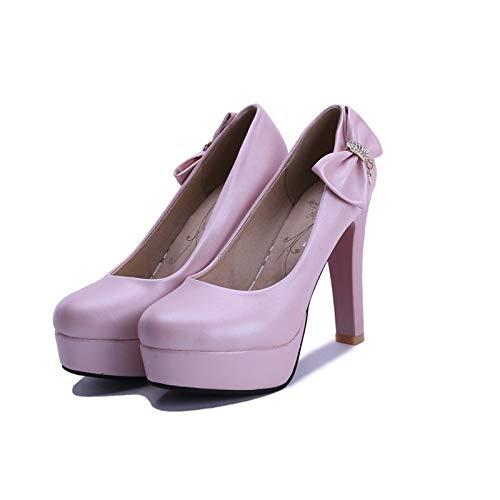 ZHZNVX Zapatos de Mujer PU (Poliuretano) Fall Basic Pump Tacones Chunky Heel Blanco/Azul / Rosa Pink