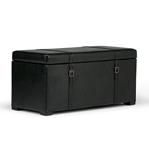 Simpli Home 3AXCOT-244-BL Dorchester 41 inch Wide Transitional Storage Ottoman in Midnight Black Faux Leather