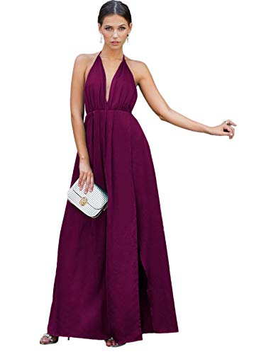 Satin Vintage Cocktail Dress - SheIn Women's Sexy Satin Deep V Neck Backless Maxi Party Evening Dress Medium #Purple