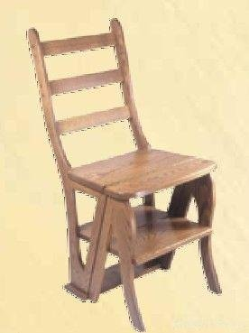 Amazon.com: Amish Handcrafted Library Step Stool Chair Combo: Kitchen U0026  Dining