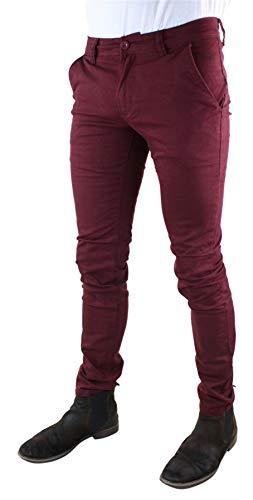 Elasticizzato Jeans Skinny Leeyo Stretti Bordeaux Cotone Uomo Pantaloni Colorati p75Xxf