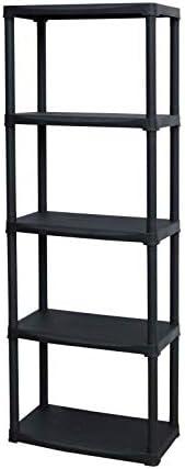 Hauteur 176 cm Largeur 60 cm Noir SOGENEX Etagere en r/ésine 5 tablettes