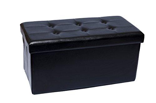 5' Round Bench (Fsobellaleo Rectangular Foot rest Bench Folding Stool Storage Ottoman Tea or Coffee Table Black30.5''X16''X16'')