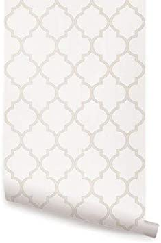 Moroccan Warm Grey Peel /& Stick Fabric Wallpaper Repositionable