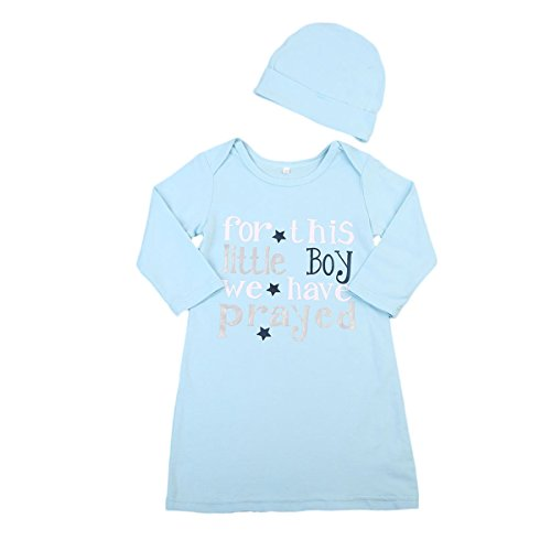 Newborn Baby Boys Long Sleeve Cotton Sleeper Grown with Hat Sleepwear Set (0-6 Months, Blue) (Sleeper Cap)