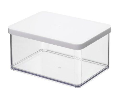 Rotho Vorratsdose Premium Loft - aromadichte Aufbewahrungsbox - BPA-freie Frischhaltedosen - Kunststoffbehälter ist spülmaschinentauglich - Inhalt 2.25 l - Form rechteckig breit - ca. 20 x 15 x 9.6 cm (LxBxH) - transparent/Weiß- 1161001100