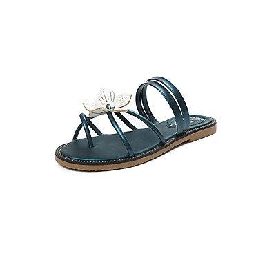 Sandalias de verano PU Confort Casual talón plano Applique Green