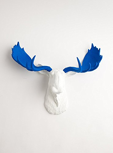 The Tsar   White Moose Head with Blue Antlers   Resin Moose Decorations   Faux Taxidermy   Animal Mounts   Trophy Taxidermy ()