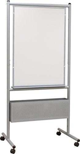 Best-Rite Mobile Nest Easel, Platinum Frame, Double Sided Dura-Rite HPL Whiteboard, 72