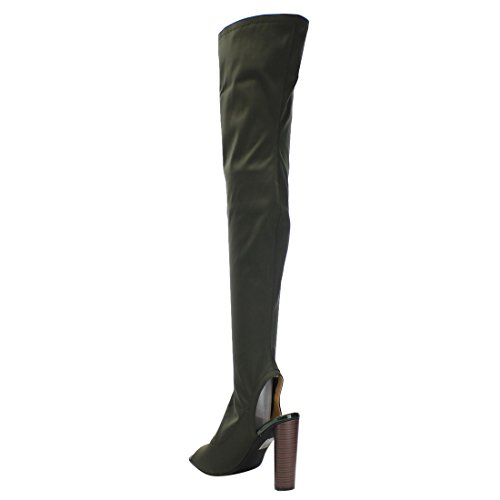 Women's Boots Half Olive Stacked Peep 1 Connie Cape Size The Knee Robbin Big Toe Heel Over 70PZZtA