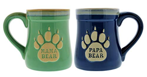Mama & Papa Bear Ceramic Funny Coffee Mug, Nobody Messes with My Cubs, Large 18 oz Mug, Gifts for Mom & Dad ()
