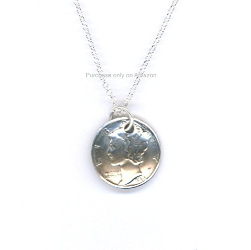 Handmade Jewelry 1938 Dime Pendant Sterling Chain Necklace 80th Birthday Gift