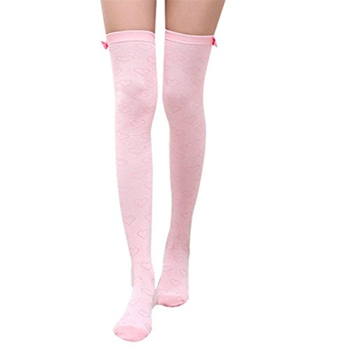 Elaco Women Ladies Winter Knit Over The Knee Socks Thigh High Cotton Boot Stockings (Pink) ()