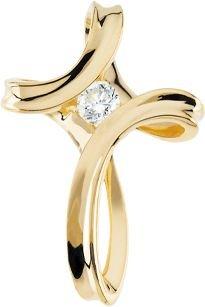 Pendentif Croix-Or jaune 14 carats avec diamants bruts 25 x 17,5 mm-JewelryWeb