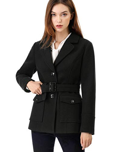 Allegra K Women's Winter Notched Lapel Belted Single Breasted Casual Pea Coat L Black