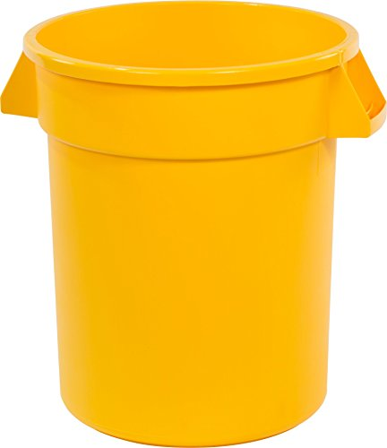 Carlisle 34102004 Bronco Round Waste Container Only, 20 Gallon, Yellow (Pack of 6) by Carlisle