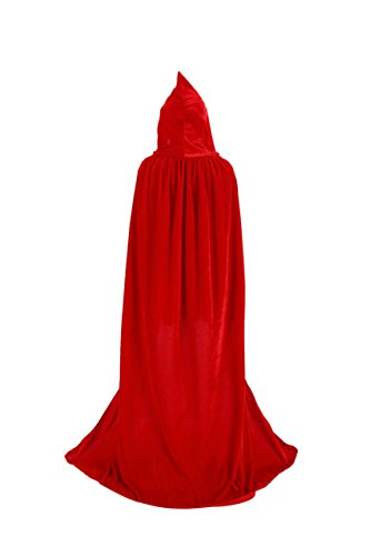 TULIPTREND Full Length Hooded Cloak Christmas Halloween Cosplay Costume CapeUS L (tag size XL (XL=170cm) Red]()