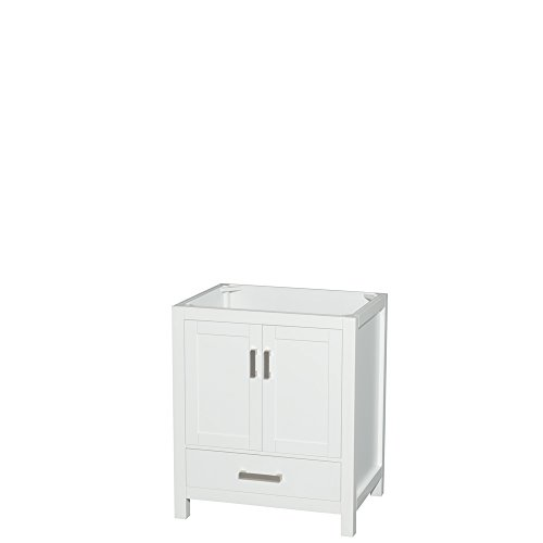 Wyndham Collection Sheffield 30 inch Single Bathroom Vanity in White, No Countertop, -
