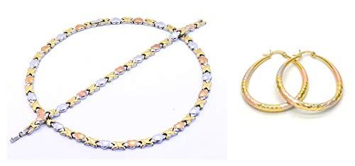 Bling Bling NY Womens Tri Color Hugs & Kisses Necklace Bracelet Medium Sized Oval Earring Set Stampato Stainless Steel Anti-Tarnish (Necklace 18'', Bracelet 7.5'' & Earring Set)