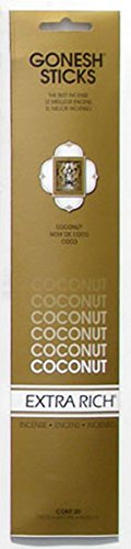 Coconut Incense Sticks - Gonesh Incense Sticks Extra Rich Collection Coconut, 20 Piece