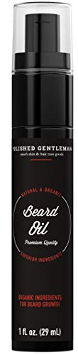Organic Beard Growth Oil For Men - With Cedarwood & Tea Tree Oil - Easy Beard Dispenser and Pump - Natural Conditioner and Softener - Beard Thickening Spray (1 fl. oz) - Made in USA