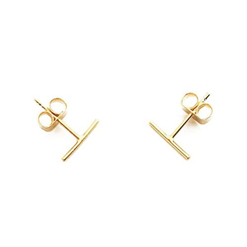 (HONEYCAT 24k Gold Plated Wire Midi Balance Bar Stud Earrings)