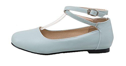 Allhqfashion Femme Sans Talon Pu Solide Boucle Ronde Fermé Orteils Pompes-chaussures Bleu