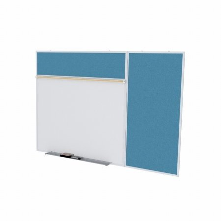 Ghent SPC48B-V-191 4 ft. x 8 ft. Style B Combination Unit - Porcelain Magnetic Whiteboard and Vinyl Fabric Tackboard - Ocean by Ghent