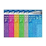 2 Pack, Bazic 8, 10, 20, 30 Mm Size Lettering Stencil Sets, 4 Per Pack(color May Vary) 8 Stencils in Total