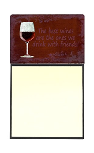 Caroline's Treasures The best wines are the ones we drink with friends Refillable Sticky Note Holder or Postit Note Dispenser, 3.25 by 5.5'', Multicolor by Caroline's Treasures
