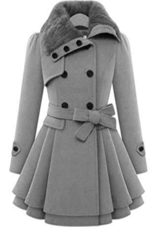 (Sasarh Women Swing Double Breasted Wool Pea Coat with Belt Buckle)
