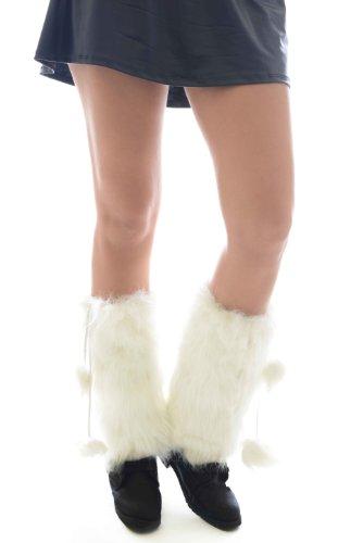 Fashion Mic Fluffy Furry Warm Winter Leg Warmers Multiple Styles (free size, tassel white) (White Fluffy Leg Warmers)