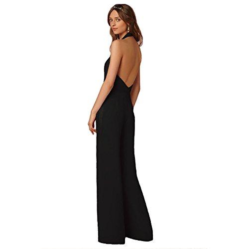 Jumpsuit Romper Black Women Sleeveless Party Leg Wide Deep Sugarwewe High Waist Neck V n1qwPx8O7