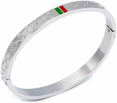 11366c8ec11 BUCKNOR Women's Fashion Classic Lovely Brilliance Bracelet - Titanium Steel  Red and Green Bracelets