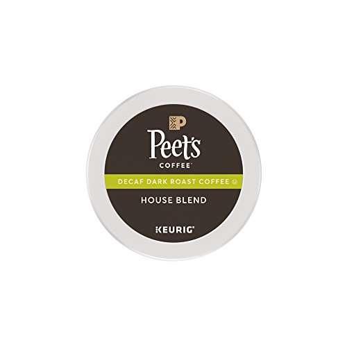Peet's Coffee, Decaf House Blend, Dark Roast, K-Cup Pack  Single Cup Decaf Coffee Pods, 16 Count