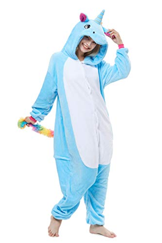 Yutown New Adult Animal Costume Onesie Unicorn Halloween Cosplay Pajama Zipper Blue Pegasus L