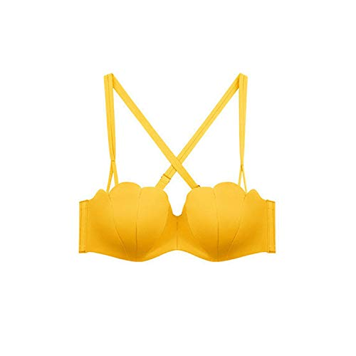 Cross Backless Bralette Comfort Breathable Adjusted Wireless Bras Women Push Up Seamless Bra Ladies Lingerie Yellow