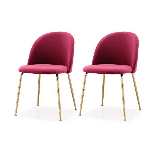 M60 Modern Velvet Chair- Set of 2 Piece Velvet Upholstery Gold Frame Chair Set- Steel Base Side Chair- Elegant and Comfortable Design - Ideal for Dining Room- Multiple Colors Available (Dark Red)