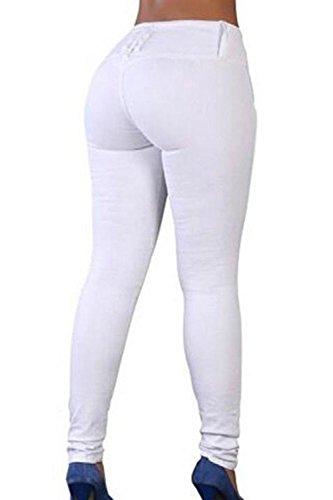 Donne Yulinge Jeans Caviglia In Denim White Le Alto Lunghi Pantaloni 5wxqPH7wa