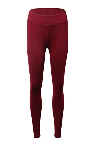 APTERA Women's High Waist Leggings Mesh Panel Patchwork Tights Full Length with Pocket for Yoga Jogging Workout - Red, M