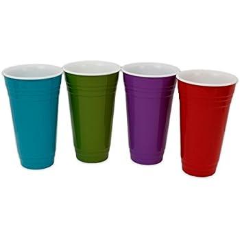 Amazon Com Set Of 4 Reusable Melamine Red Quot Plastic Quot Party